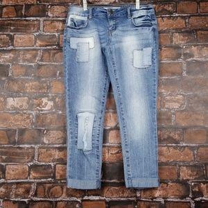 True Freedom| Jrs Crop Patchwork Jeans sz 3